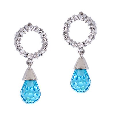 Bridesmaid Diamond Dangling Briolette Earrings