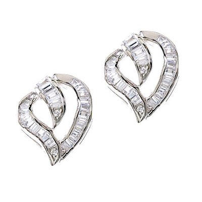 CZ Collections Sterling Silver Heart Baguette Earrings