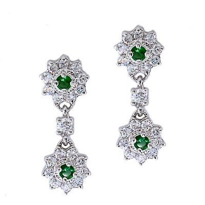 CZ Collections Emerald Flower Drop Earrings (Mn)