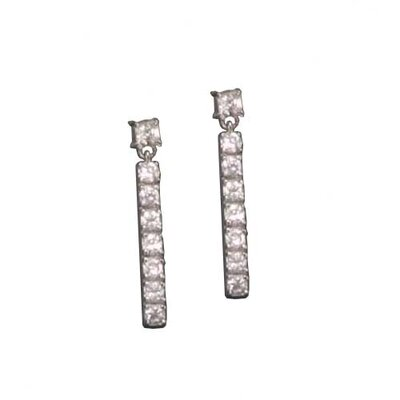 CZ Collections Long Straight Rhodium Plated Earrings