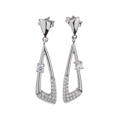 CZ Collections Micro Setting Drop (.925) Sterling Silver Earrings