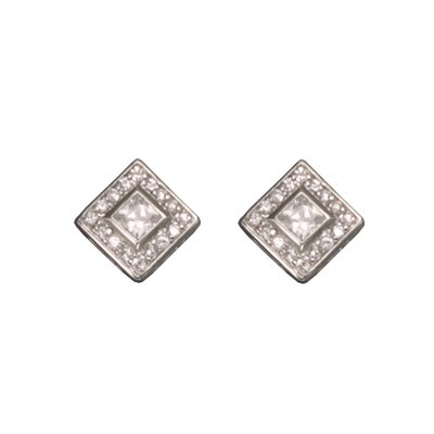 cubic zirconia Diamond Square Rhodium Plated Earrings