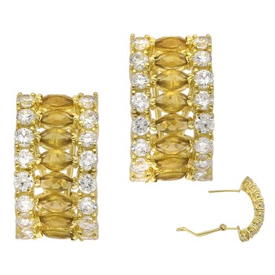 CZ Collections Smoky Topaz Marquis Cut Earrings