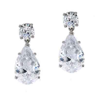 Rozzato Oprah's Diamond Pear Drop Earrings Jewelry