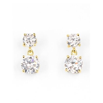 Rozzato Double Dangling 14K Yellow Gold Plated Earrings