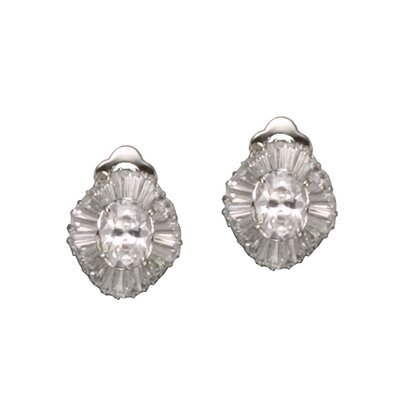 CZ Collections Baguette Oval Rhodium Plated Earrings