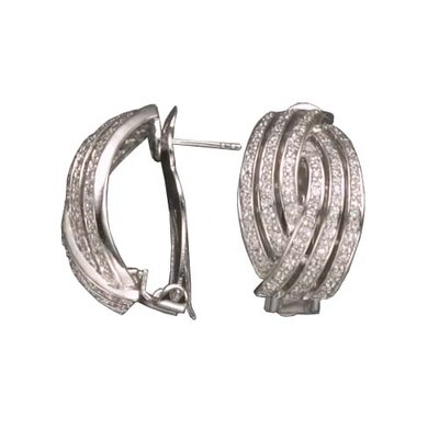 Curved Rhodium Plated Earrings
