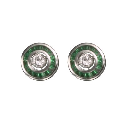 CZ Collections Emerald Rhodium Plated Earrings Jacket