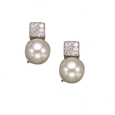 Square Cultured Pearl Rhodium Plated Earrings