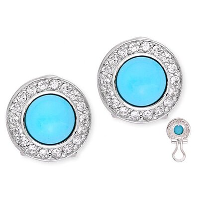 Vivid Simulated Turquoise Cabochon Circle Stud Earrings