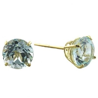 Blue Topaz cubic zirconia Diamond Vermeil Stud Earrings