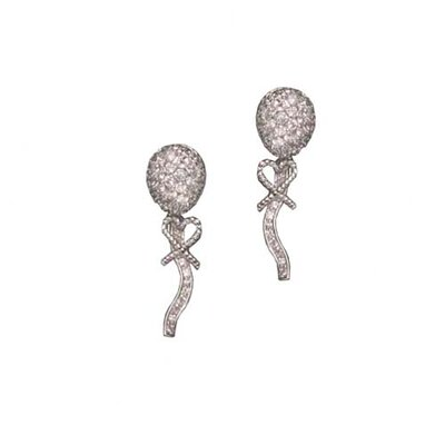 CZ Collections cubic zirconia Long Rhodium Plated Earrings
