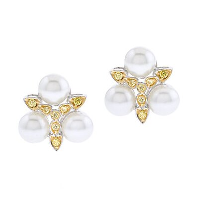 CZ Collections Trio Faux Pearl Peridot Cluster Earrings