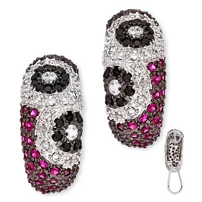 Lovely Floral Theme Black Ruby Diamond Earrings