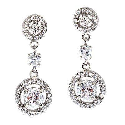 CZ Collections Sterling Silver Dangling Diamond Earrings