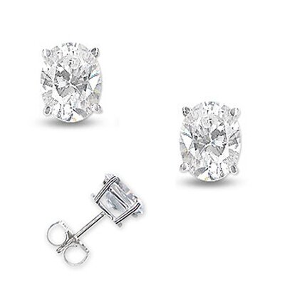 CZ Collections 4 CT TW Diamond Oval Basket Setting Earrings