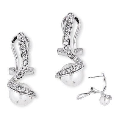 CZ Collections Faux Pearl Diamond Swoop Earrings