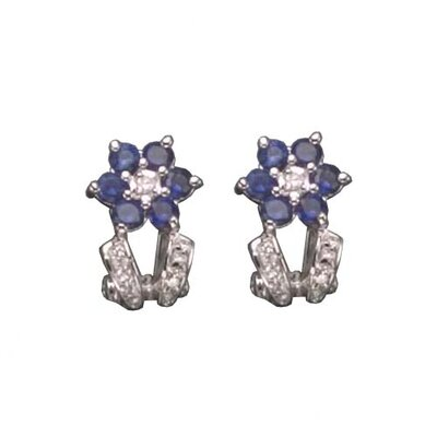 Sapphire Clip Post Rhodium Plated Earrings