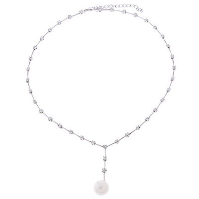 Chic Bridal Diamond Faux Pearl Silver lariat necklace