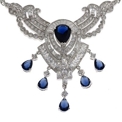 CZ Collections Regal Diamond Sapphire Platinum Necklace Over 40Ct