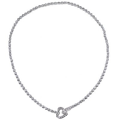 Tiffany Tennis Diamond Heart Necklace