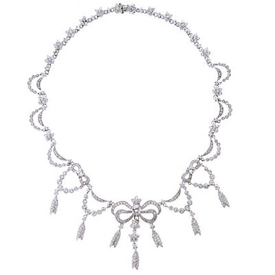 CZ Collections Adrienne Bow Diamond Bridal Estate Silver Necklace