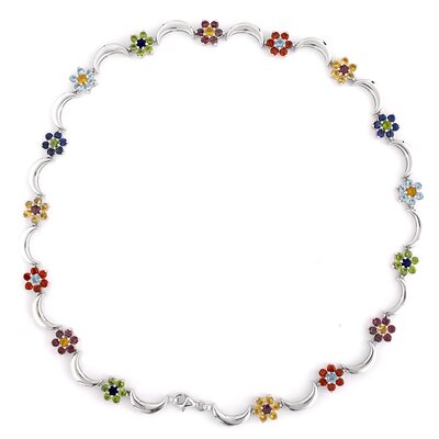Multi-Gemstone Flower Scalloped Sterling Silver Necklace
