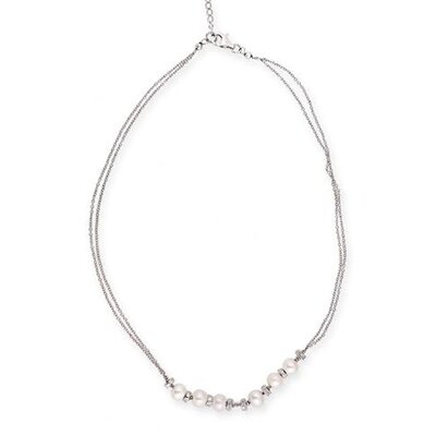 Classic Double Strand Faux Pearl Diamond Bridal Necklace