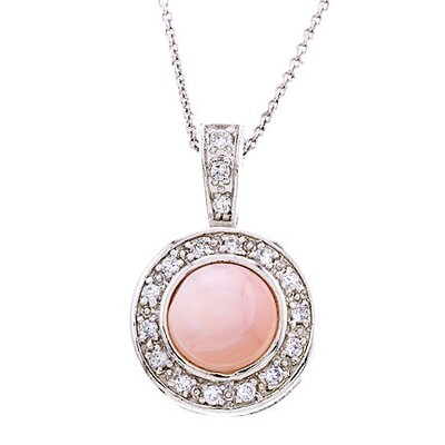Pink Mother-of-Pearl Diamond Silver Circle Pendant