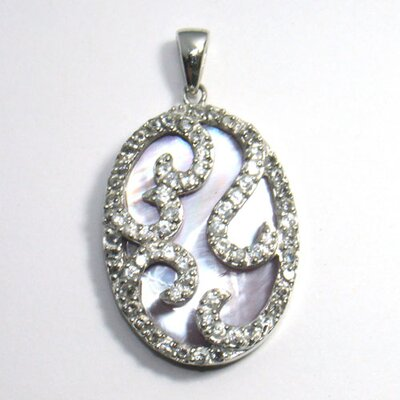 CZ Collections Swirl Mother of Pearl Pendant