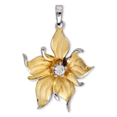 CZ Collections Satin Gold Vermeil Silver Diamond Evening Pendant