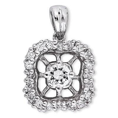 CZ Collections Prong Pave-Set Round Diamond Platinum Pendant