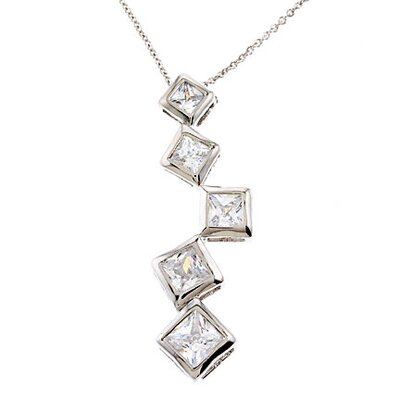 Princess Cut Diamonds Silver Pendant
