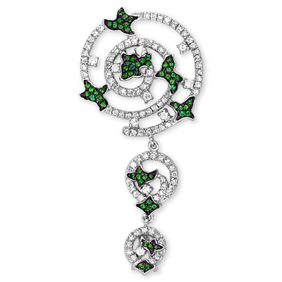 CZ Collections Emerald Floral Pendant