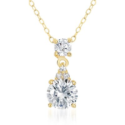 CZ Collections Lovely Bridesmaid 14K Yellow Gold Plated Pendant