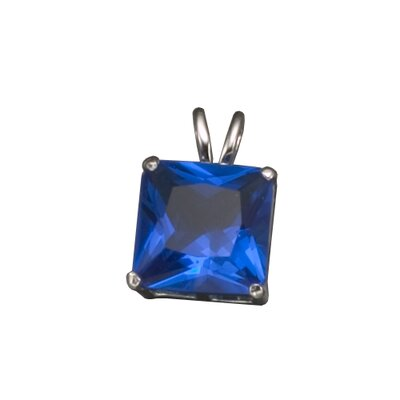 CZ Collections Large Square Sapphire Pendant