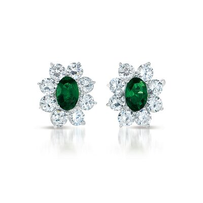 CZ Collections Flower Cubic Zirconia Earrings