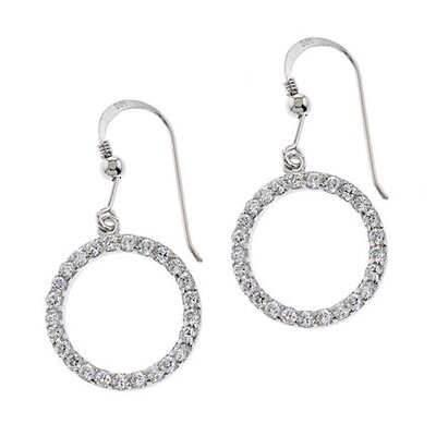 Cubic Zirconia Circle of Life Euro Earrings