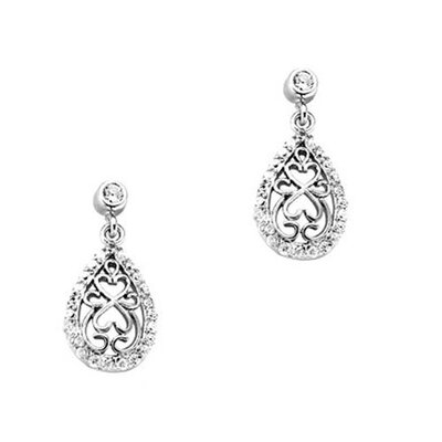 CZ Collections Cubic Zirconia Teardrop Earrings