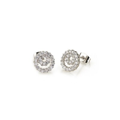 Double Circle Swirl Cubic Zirconia Earrings