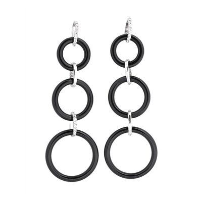 Triple Circle Hanging Cubic Zirconia Earrings