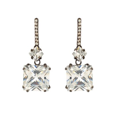Glamorous Lever back Princess Cut Cubic Zirconia Drop Earrings