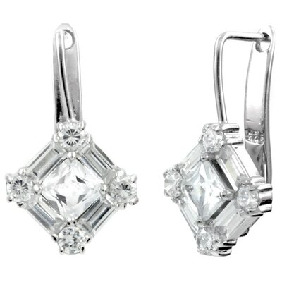 Cubic Zirconia Diamond Euro Wire Earrings