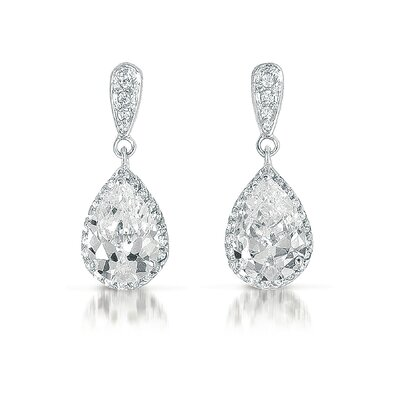 Rozzato Cubic Zirconia Pear Drop Earrings