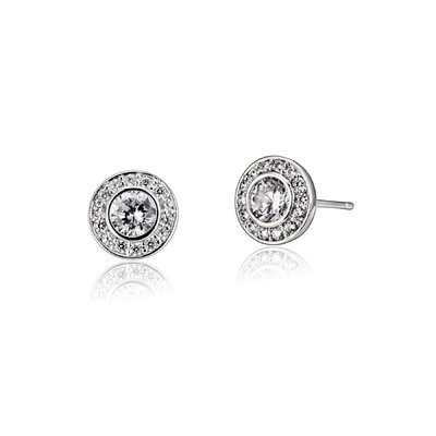 Rozzato Round Cubic Zirconia Stud Earrings