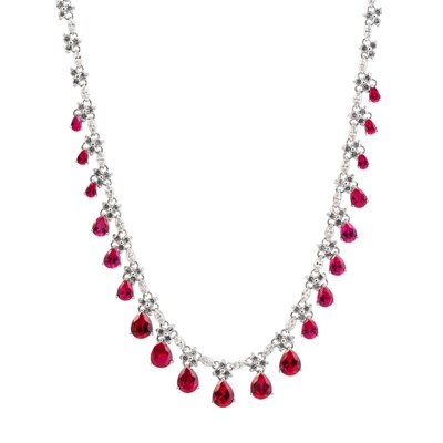 Rozzato Sterling Silver and Cubic Zirconia Drop Dangling Evening Necklace