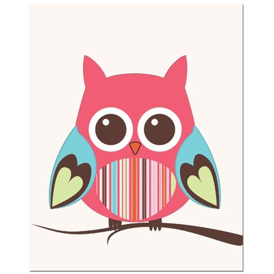 Secretly Designed Strip Belly Owl on Tree Art Print