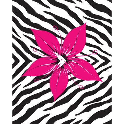 Flower with Zebra Print Wall Decal