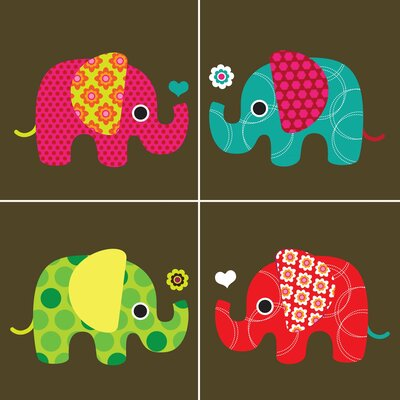 Secretly Designed Four Elephants Wall Art Print
