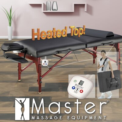 "Master Massage 31"" Montclair Therma Top Pro Package Massage Table in Black"